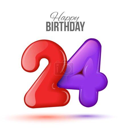 Photo pour Exemple de carte de vœux pour le 24 e anniversaire. Air 3D chiffres rouges à partir des chiffres. Carte d'invitation à la fête avec des ballons sur fond blanc. Convient pour l'impression, la livraison web, le jubilé - image libre de droit