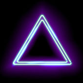 Neon abstract triangle Glowing frame Vintage electric symbol Burning a pointer to a black wall in a club bar or cafe Design element for your ad sign poster banner Vector illustration