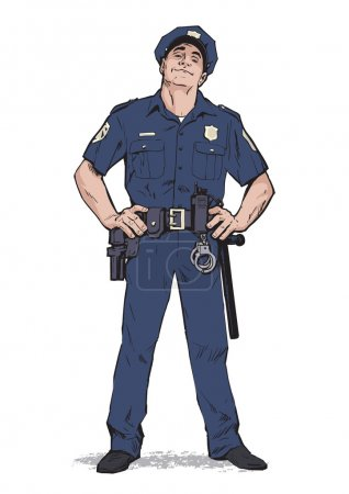 Illustration for Content policeman in uniform. Blue form. Confident cop. Self-confident man in a blue uniform. The guy in the cap. Happy policeman. Strong character. Catch the criminals. Vector illustration - Royalty Free Image