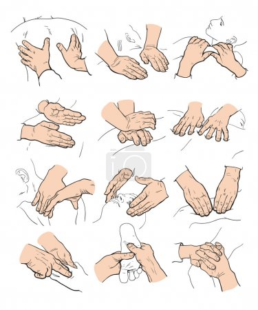 Illustration for Hand massage, foot massage, back massage. Types of massage. Set with image of massage. Face massage. Massage therapy. Therapeutic manual massage. Relaxing therapy. Massage vector icons. Body massage - Royalty Free Image