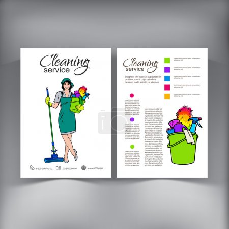 Illustration for Cleaning Services. The Cleaner with a Mop. Cleaning Homes and Offices. Cheerful Girl with a Bucket. Bucket with Cleaning Cleaners. Woman in Uniform. Hand Drawn Colorful Painted. Vector - Royalty Free Image