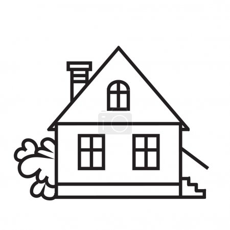Sket one house. House, dwelling, symbol