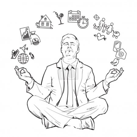 Illustration for Businessman in nirvana. Relaxed businessman. Search yourself, relax. Harmony with the world. Man resting. Man meditating. Rest of stress at work. Man relax in the vacation. Vector. Man and relax - Royalty Free Image