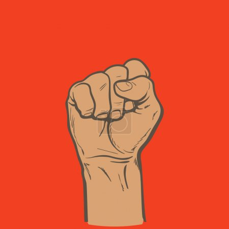Raised fist. Strong fist on a red background. Mans...