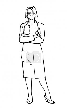Female doctor standing with his arms crossed
