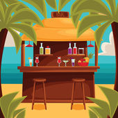 Beach bar on plage summer barroom on vacation cocktails on the sea with palm trees and water ocean garizont visible for summer cafe vector color illustration variety summer drinks at the counter