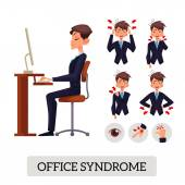 Set of vector illustrations of various types of office pain syndrome in humans and man sits evenly and properly for the work space table chair eyes brush suffering disease