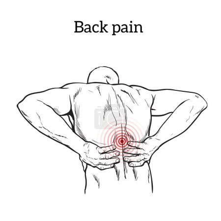 Low back pain in men, black and white sketch