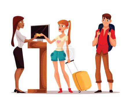 Illustration pour Réservation chambres d'hôtel, illustration vectorielle de bande dessinée drôle, jeune couple prenant les clés de leur chambre, un homme et une femme en vacances pour séjourner dans un hôtel, réception de l'hôtel - image libre de droit