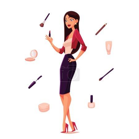Illustration pour Elle est difficile de choisir le nécessaire son maquillage, vecteur dessin animé isolation illustration, cosmétiques et belle fille, attributs pour une jeune et belle femme, avant de choisir le bon maquillage - image libre de droit