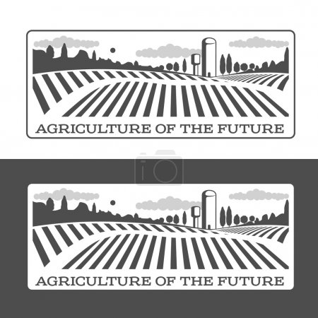 Illustration for Farm field labels set of vector logos farming, field with a barn, land and trees, badges with fields farm badges isolated on white and black background - Royalty Free Image