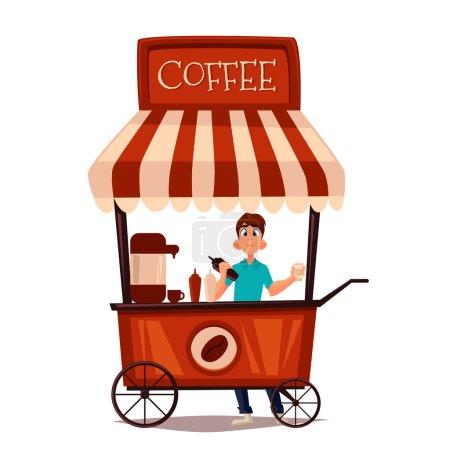 Illustration pour Vente de café en plein air, illustration de bande dessinée vectorielle isolé sur fond blanc, vendeur vend le café dans la rue, boissons de restauration rapide, boisson au café - image libre de droit