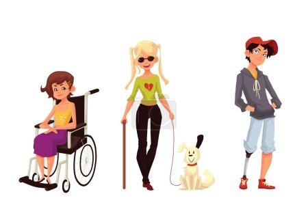 Illustration pour Groupe d'enfants handicapés, illustration vectorielle de dessin animé isolée sur fond blanc. Besoins spéciaux, enfants handicapés. Fille en fauteuil roulant, fille aveugle avec bâton et chien d'assistance, garçon avec prothèses - image libre de droit