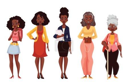 Illustration pour Ensemble de femmes noires d'âges différents, de l'adolescence à la maturité et à la vieillesse, illustration vectorielle isolée sur fond blanc. Diverses générations chez les femmes afro-américaines - image libre de droit