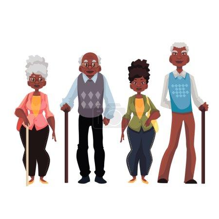 Illustration pour Illustration vectorielle de style dessin animé afro-américain, isolée sur fond blanc. Ensemble complet de portraits masculins et féminins de retraités noirs retraités - image libre de droit