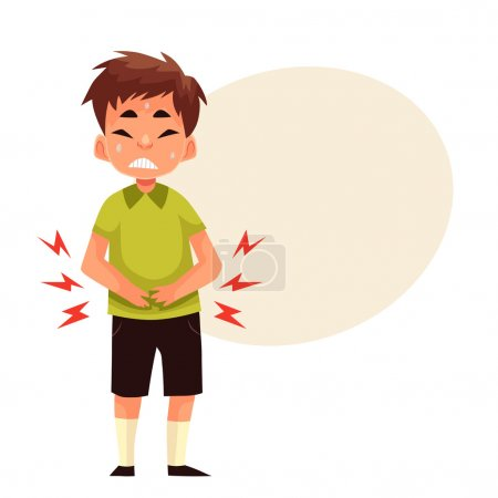 Boy having stomach ache, cartoon style vector illu...
