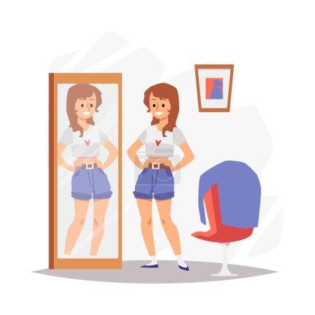 Femme heureuse et satisfaite de son apparence, illustration vectorielle plate isolée.