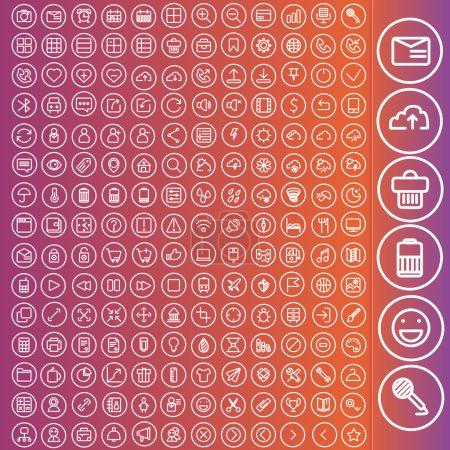 Illustration pour Jeu vectoriel d'icônes pour la conception web et interface utilisateur. Voyage, informatique, concepts web d'entreprise - image libre de droit