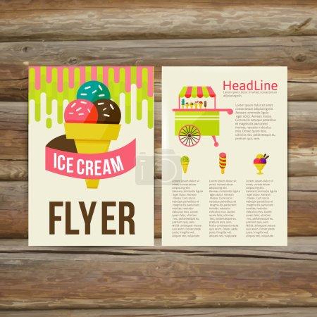 Illustration pour Brochure abstraite Modèle vectoriel de conception de flyer. crème glacée stylée, illustration vectorielle - image libre de droit