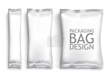 Illustration pour Sachet de blanc métallisé blanc. Modèle en plastique de Pack pour votre design et image de marque. Vector - image libre de droit