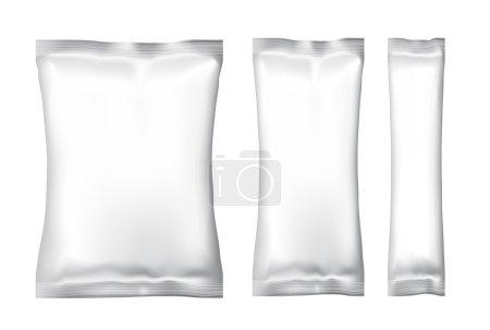 Illustration pour Blanc blanc feuille alimentaire Snack pack pour puces, épices, café, sel et autres produits. Modèle en plastique de Pack pour votre design et image de marque. Vector - image libre de droit