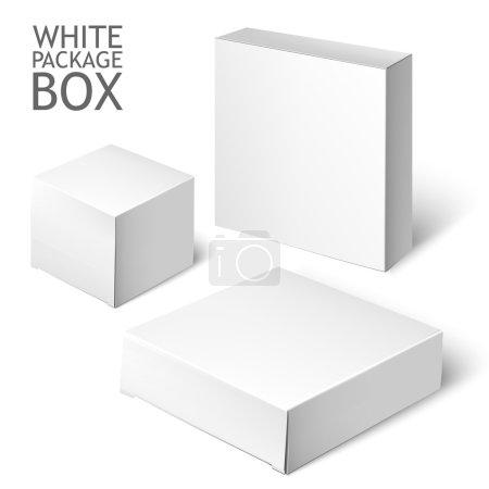 Illustration pour Boîte d'emballage en carton. Ensemble de carré de paquet blanc pour le logiciel, DVD, dispositif électronique et autres produits. Modèle maquillé prêt pour votre conception. Illustration vectorielle isolée sur fond blanc - image libre de droit