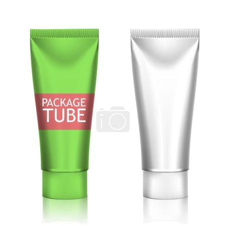 Illustration pour Emballage des tubes réalistes blancs pour les cosmétiques isolés sur fond blanc. Ici peuvent être des crèmes, dentifrice, gel, sauce, peinture, colle, onguents, lotions, médicaments. Utilisez Mockup pour votre conception - image libre de droit