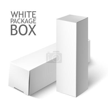 Ilustración de Paquete de cartón. Conjunto de blanco paquete cuadrado para Software, Dvd, dispositivos electrónicos y otros productos. Se burlan de plantilla listos para su diseño. Ilustración de vectores aislado sobre fondo blanco - Imagen libre de derechos