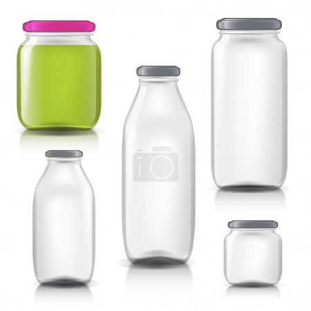 Glass bottles empty transparent set. Template of glass jars. Bank juice, jam, liquids