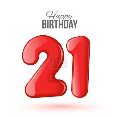 Illustration pour Exemple de carte de vœux pour le 21e anniversaire. Air 3D chiffres rouges à partir des chiffres. Carte d'invitation à la fête avec des ballons sur fond blanc. Convient pour l'impression, la livraison web, le jubilé - image libre de droit