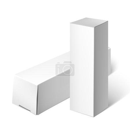 Illustration pour Boîte de carton d'emballage. Jeu de carré paquet blanc pour les logiciels, Dvd, appareils électroniques et autres produits. Maquette modèle prêt pour votre conception. Vector Illustration isolé sur fond blanc - image libre de droit