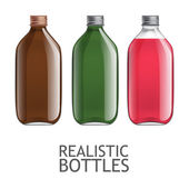 Set of transparent bottles Template for design of bottles of milk juice yogurt vinegar and any other liquid Capacity for food and other fluids Use for your design Vector illustration
