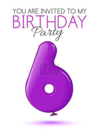 Illustration pour Invitation au 6ème anniversaire. Air 3D boules rouges à partir des chiffres. Carte d'invitation à la fête avec des ballons sur fond blanc. Convient pour l'impression, la livraison Web, le jubilé. Vecteur - image libre de droit