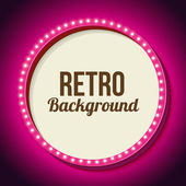 Realistic retro round frame with lights Pink 3d frame with lights and white background for your text messages promotions or discounts Neon light falls on the black wall Vector illustration