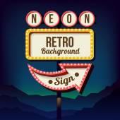 Vintage advertising road billboard with lights Retro 3d sign