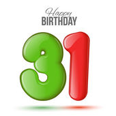 birthday Greeting card with numbers 31 thirty-one