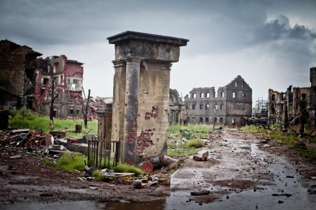 Photo for Abandoned houses and ruined city wet and muddy - Royalty Free Image