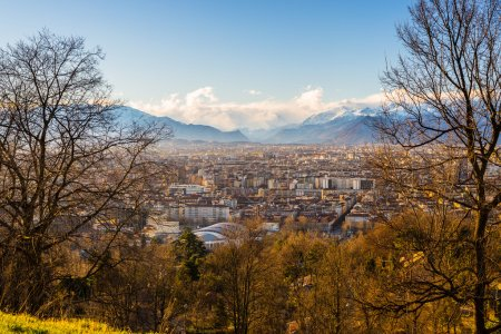Turin cityscape from above at sunset