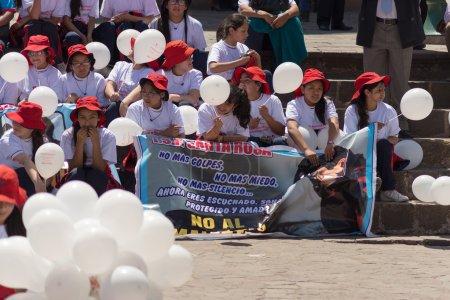 Demonstration against children abuse in Cusco, Peru.