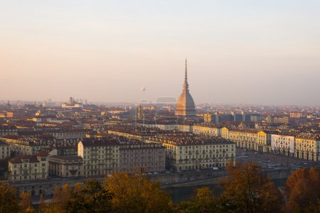 Popular city view of Turin (Torino) from above at sunset