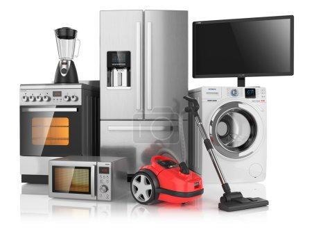Photo pour Ensemble d'appareils ménagers de cuisine, isolé sur fond blanc 3d - image libre de droit