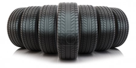 Photo for Group of tires isolated on white background - Royalty Free Image
