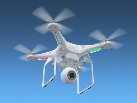 Photo for White drone, quadrocopter, with photo camera flying in the blue sky. Concept - Royalty Free Image