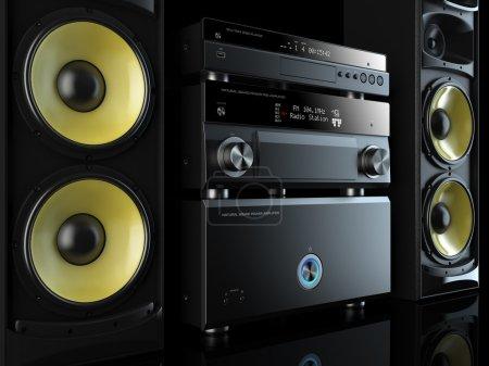 Photo pour Hi-Fi lecteur musical de système stéréo, récepteur de puissance, haut-parleurs jaunes, centre multimédia - image libre de droit