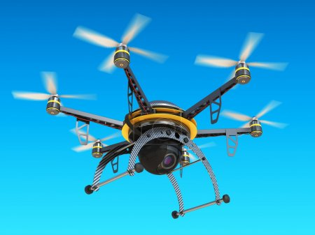 Carbon quadrocopter drone with digital camera in sky.