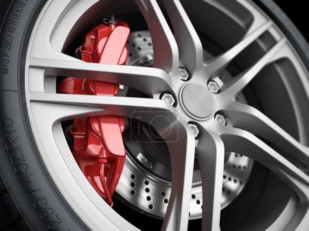 Car wheel and brake system. Closeup.