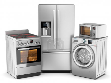Home appliances. Group of silver refrigerator, washing machine,