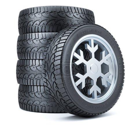 Foto de Conjunto de neumáticos de invierno, borde de forma de copo de nieve aislado sobre fondo blanco 3d - Imagen libre de derechos