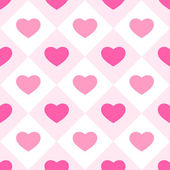 Primitive retro seamless background with hearts in square cells