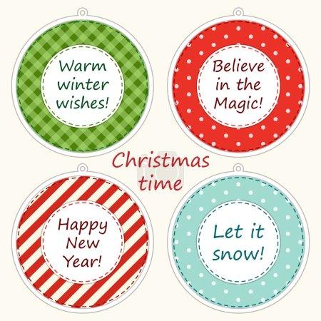 Ilustración de Christmas labels in shabby chic style as retro applique of christmas balls in traditional colors - Imagen libre de derechos